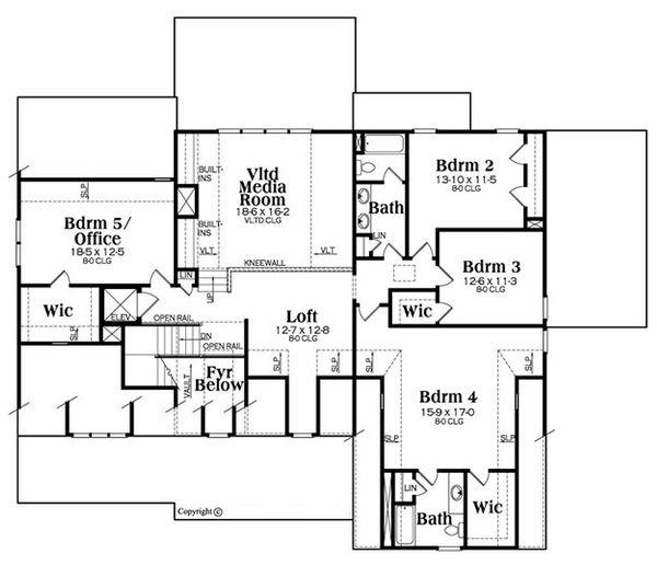 Country Floor Plan - Upper Floor Plan Plan #419-306