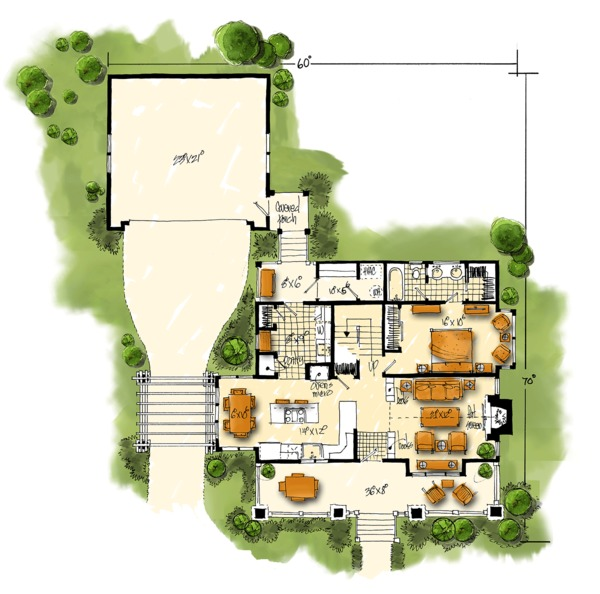 Craftsman Floor Plan - Main Floor Plan Plan #942-52