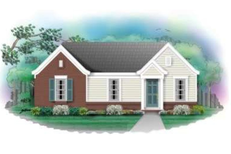 Ranch Style House Plan - 3 Beds 1 Baths 912 Sq/Ft Plan #81-671 Exterior - Front Elevation