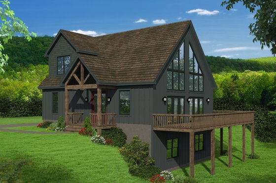 Cabin Exterior - Front Elevation Plan #932-250