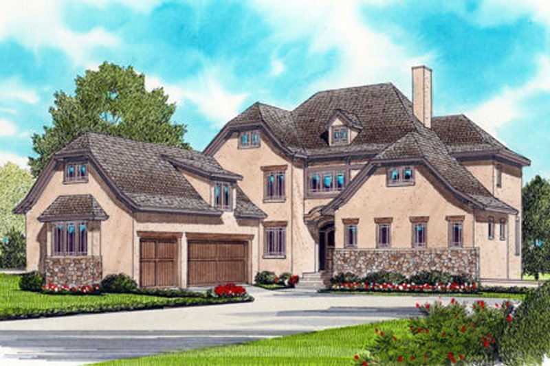 European Exterior - Front Elevation Plan #413-822