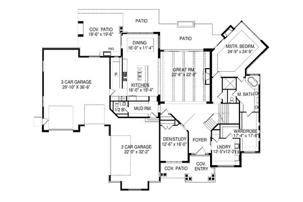 Contemporary Floor Plan - Main Floor Plan Plan #920-90