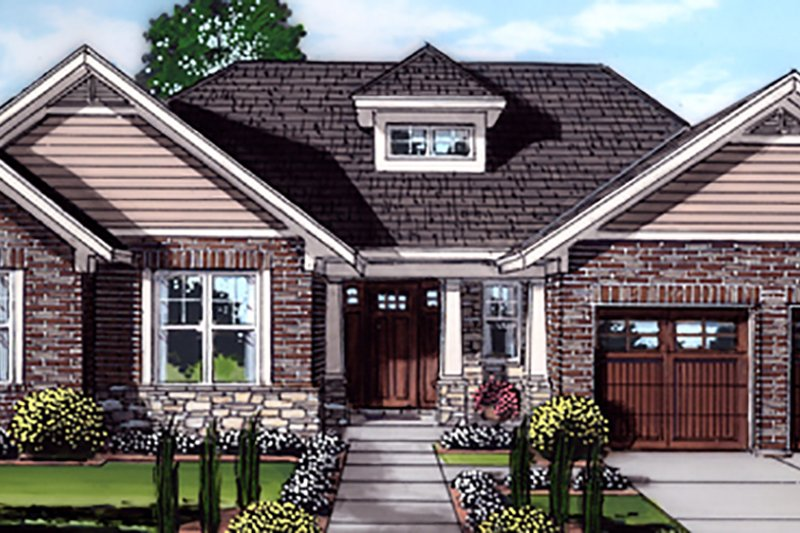 Craftsman Exterior - Front Elevation Plan #46-897