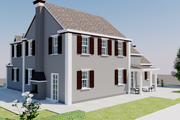European Style House Plan - 4 Beds 4 Baths 3737 Sq/Ft Plan #542-15 Exterior - Rear Elevation