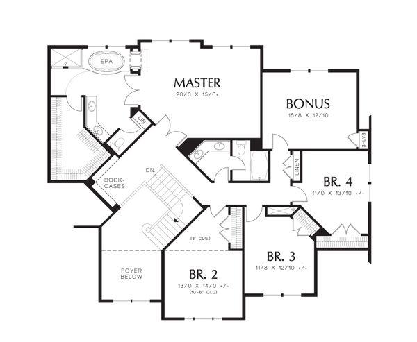 Craftsman Floor Plan - Upper Floor Plan Plan #48-611