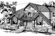 European Style House Plan - 5 Beds 3.5 Baths 3611 Sq/Ft Plan #124-142 Exterior - Front Elevation