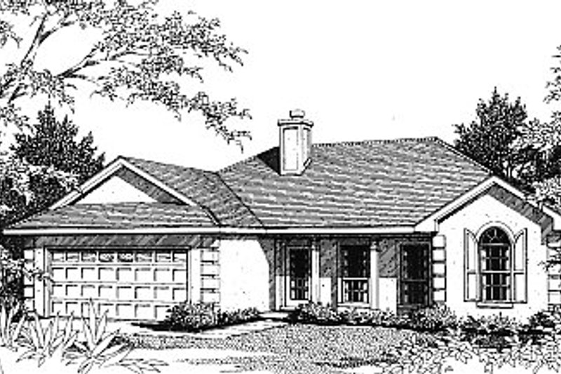 Mediterranean Exterior - Front Elevation Plan #14-130