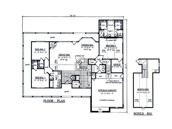 Country Floor Plan - Main Floor Plan Plan #42-373