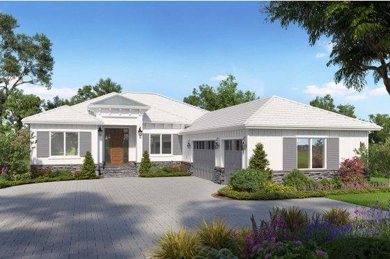 Ranch Exterior - Front Elevation Plan #938-114