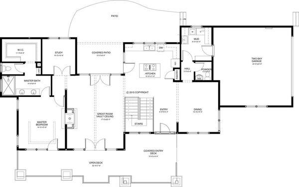Craftsman Style House Plan - 3 Beds 2.5 Baths 2712 Sq/Ft Plan #895-49 Floor Plan - Main Floor Plan