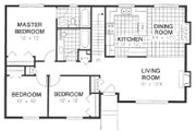 Ranch Style House Plan - 3 Beds 2 Baths 1168 Sq/Ft Plan #18-177 Floor Plan - Main Floor Plan