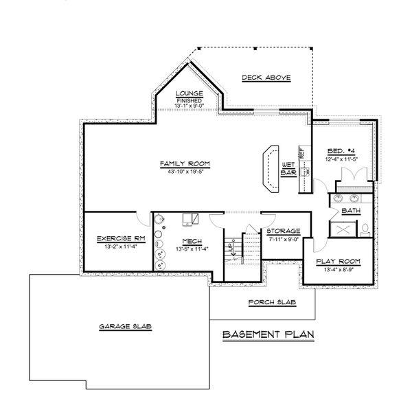 Country Floor Plan - Lower Floor Plan #1064-69
