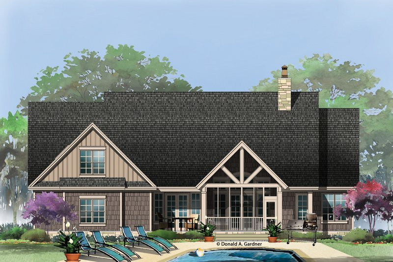 Craftsman Exterior - Rear Elevation Plan #929-14 - Houseplans.com