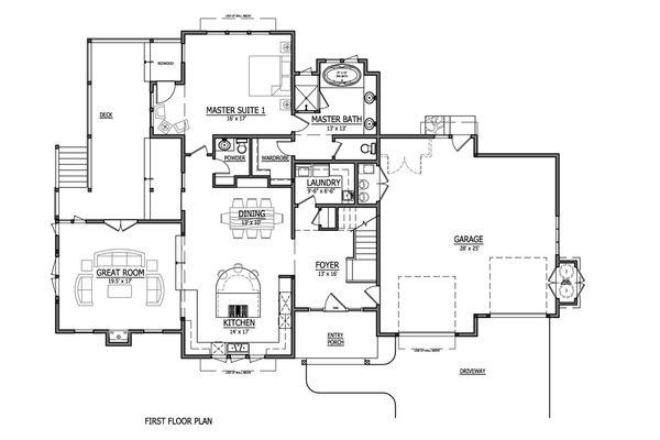 Craftsman Style House Plan - 4 Beds 2.5 Baths 3542 Sq/Ft Plan #899-1 Floor Plan - Main Floor Plan