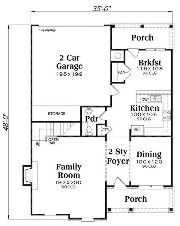 Traditional Floor Plan - Main Floor Plan Plan #419-313