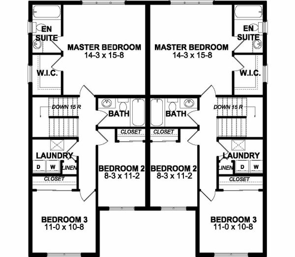 Craftsman Floor Plan - Upper Floor Plan Plan #126-203