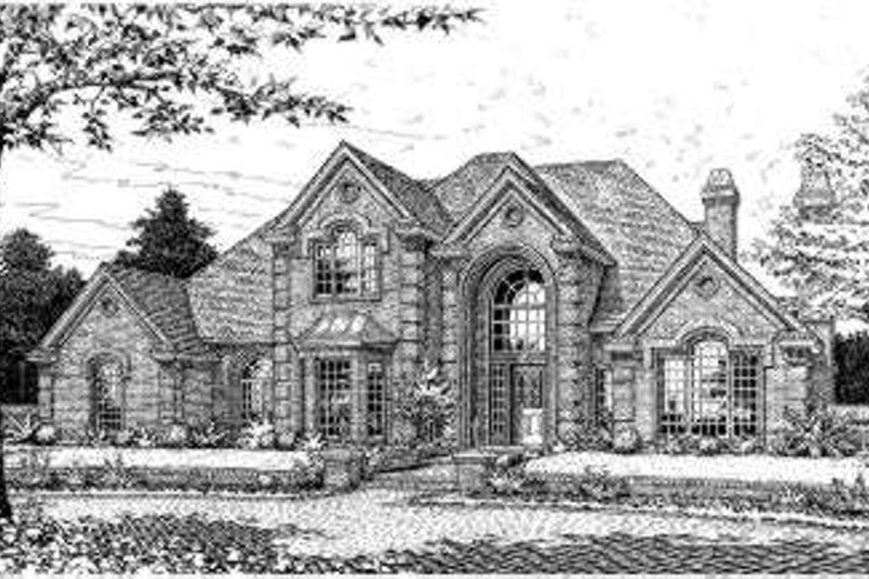 European Style House Plan - 4 Beds 3.5 Baths 3921 Sq/Ft Plan #310-203 Exterior - Front Elevation