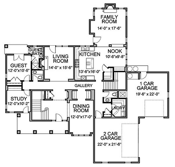 Traditional Floor Plan - Main Floor Plan Plan #490-14