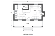 Cottage Style House Plan - 1 Beds 2 Baths 686 Sq/Ft Plan #542-19 Floor Plan - Main Floor Plan
