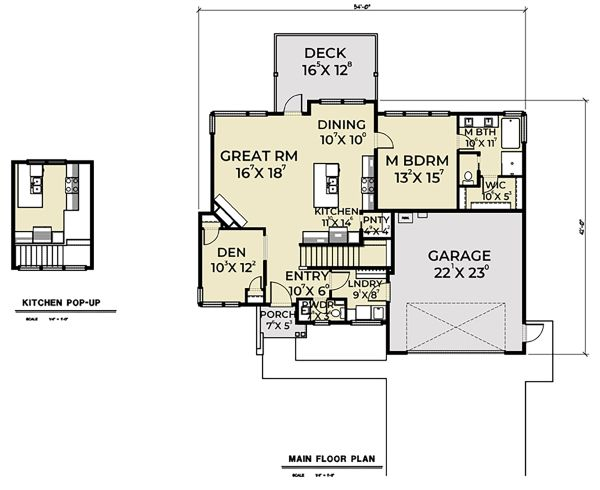 Contemporary Floor Plan - Main Floor Plan Plan #1070-56
