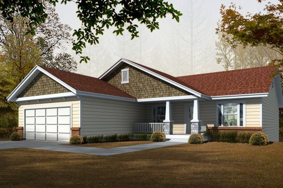 Craftsman Exterior - Front Elevation Plan #112-162