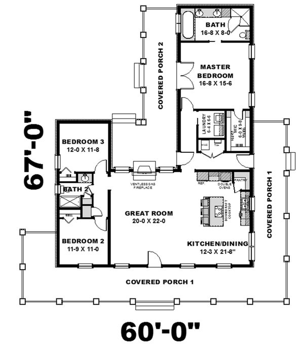 Architectural House Design - Country Floor Plan - Main Floor Plan #44-196