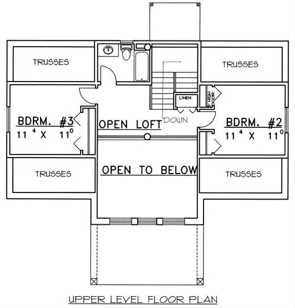 Bungalow Floor Plan - Upper Floor Plan Plan #117-525