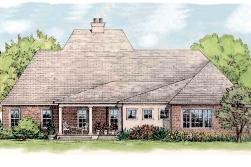European Exterior - Rear Elevation Plan #406-144 - Houseplans.com