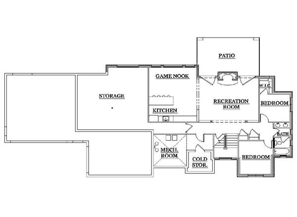 House Plan Design - European Floor Plan - Lower Floor Plan #5-251