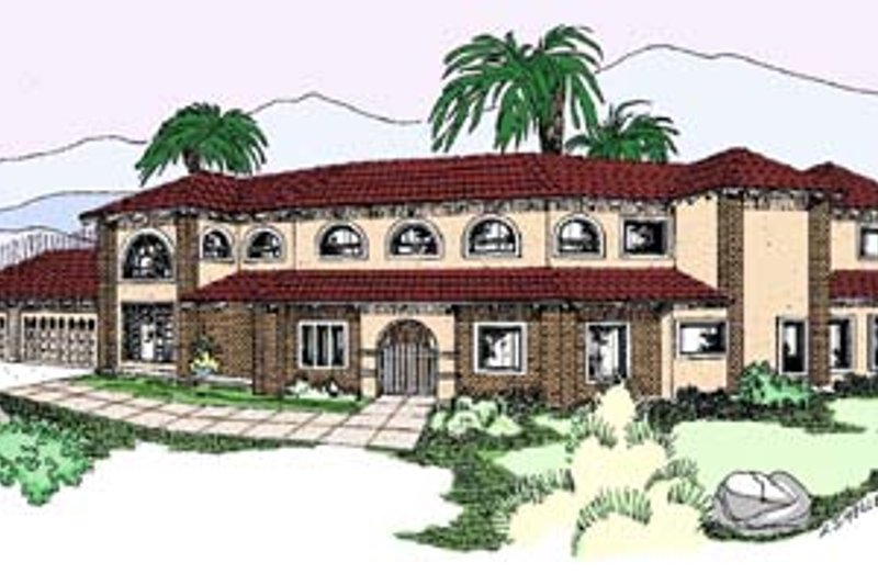 Mediterranean Exterior - Front Elevation Plan #60-555 - Houseplans.com