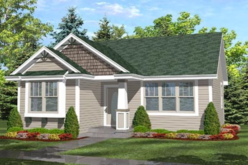 Cottage Style House Plan - 2 Beds 1 Baths 936 Sq/Ft Plan #50-123 Exterior - Front Elevation