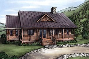 Log Exterior - Front Elevation Plan #115-153