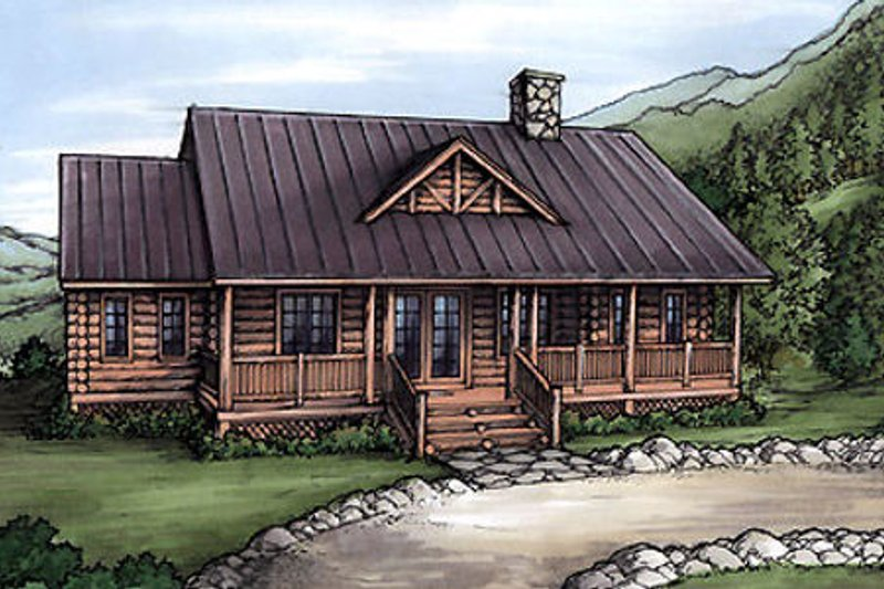 Log Style House Plan - 3 Beds 2 Baths 1512 Sq/Ft Plan #115-153 Exterior - Front Elevation