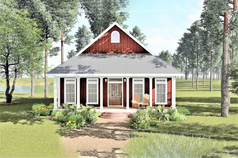 Cottage Exterior - Front Elevation Plan #44-166