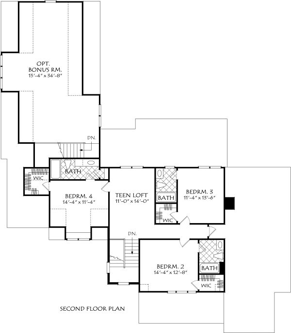Farmhouse Floor Plan - Upper Floor Plan Plan #927-996