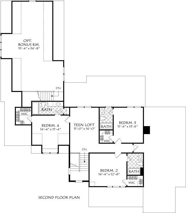 Farmhouse Floor Plan - Upper Floor Plan Plan #927-996