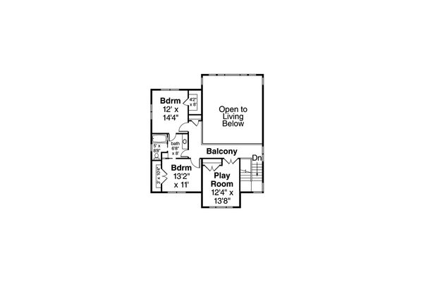 Prairie Floor Plan - Upper Floor Plan Plan #124-1107