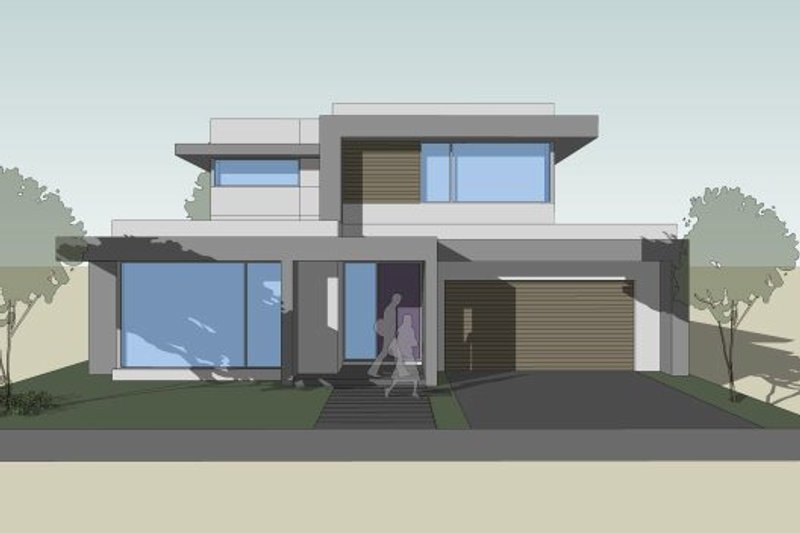 Modern Style House Plan - 3 Beds 2.5 Baths 3041 Sq/Ft Plan #496-26 Exterior - Front Elevation