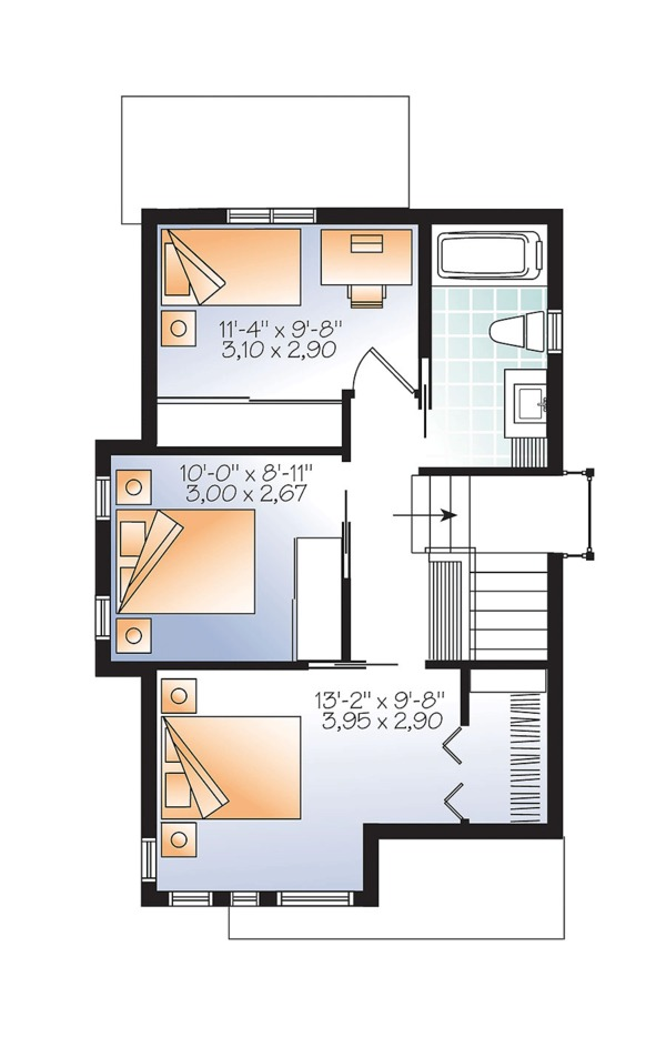 Contemporary Floor Plan - Upper Floor Plan Plan #23-2612