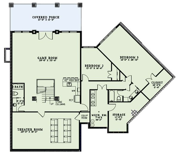 Craftsman Floor Plan - Lower Floor Plan Plan #17-2500