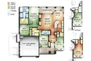 Adobe / Southwestern Style House Plan - 4 Beds 2 Baths 2038 Sq/Ft Plan #24-226 Floor Plan - Main Floor Plan