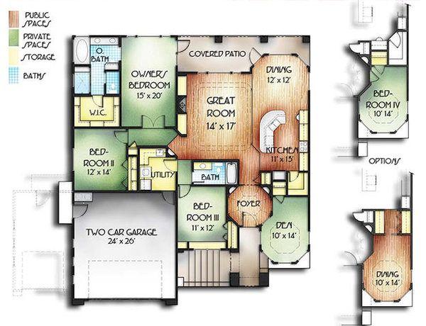 Adobe / Southwestern Floor Plan - Main Floor Plan Plan #24-226
