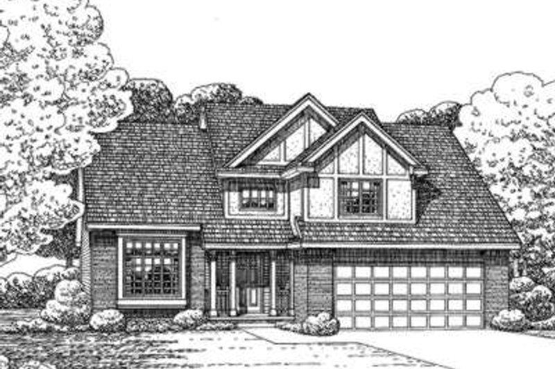 European Style House Plan - 4 Beds 3 Baths 1870 Sq/Ft Plan #20-1649 Exterior - Front Elevation