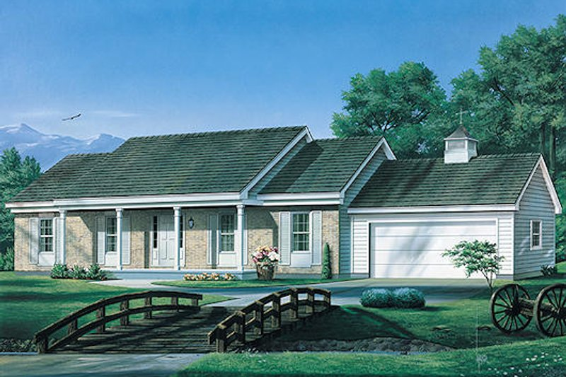 Ranch Style House Plan - 3 Beds 2 Baths 1364 Sq/Ft Plan #57-466 Exterior - Front Elevation