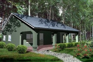 Cabin Exterior - Front Elevation Plan #1-127