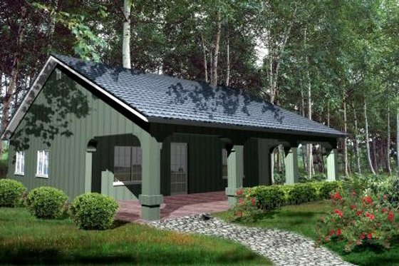 House Blueprint - Cabin Exterior - Front Elevation Plan #1-127