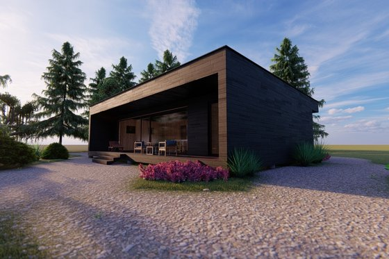 Modern Exterior - Front Elevation Plan #549-34