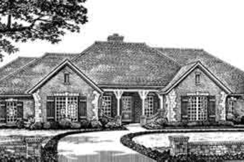 European Style House Plan - 3 Beds 2.5 Baths 2561 Sq/Ft Plan #310-260 Exterior - Front Elevation