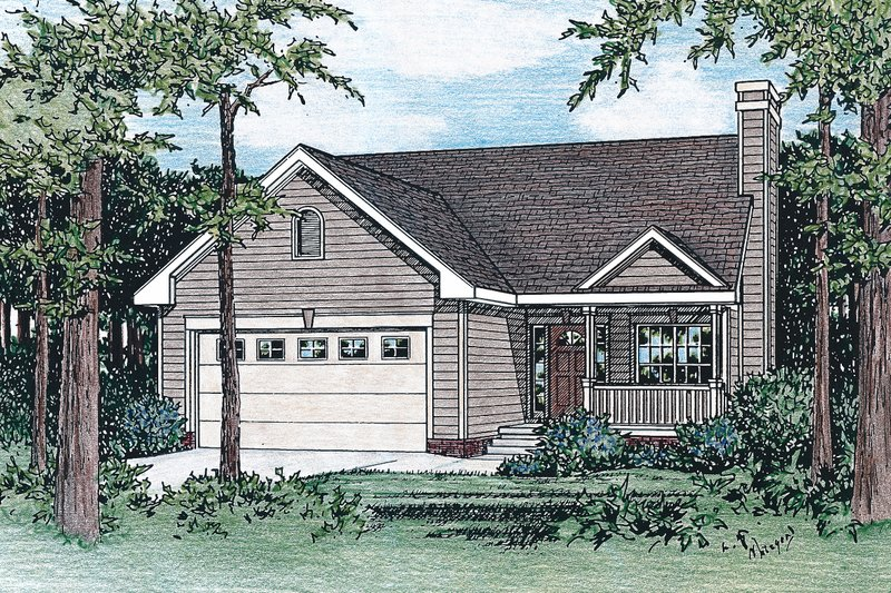 Traditional Style House Plan - 3 Beds 2 Baths 1311 Sq/Ft Plan #20-124 Exterior - Front Elevation