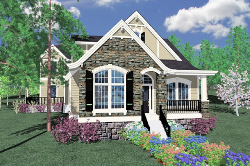 European Style House Plan - 4 Beds 3.5 Baths 2362 Sq/Ft Plan #509-6 Exterior - Front Elevation